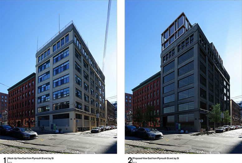 Rendering of 168 Plymouth (right) and previous building (left) - Alloy Development