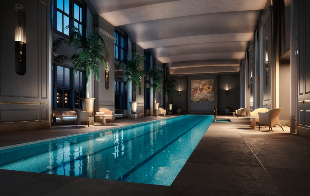 111 West 57th Street pool, rendering by Hayes Davidson