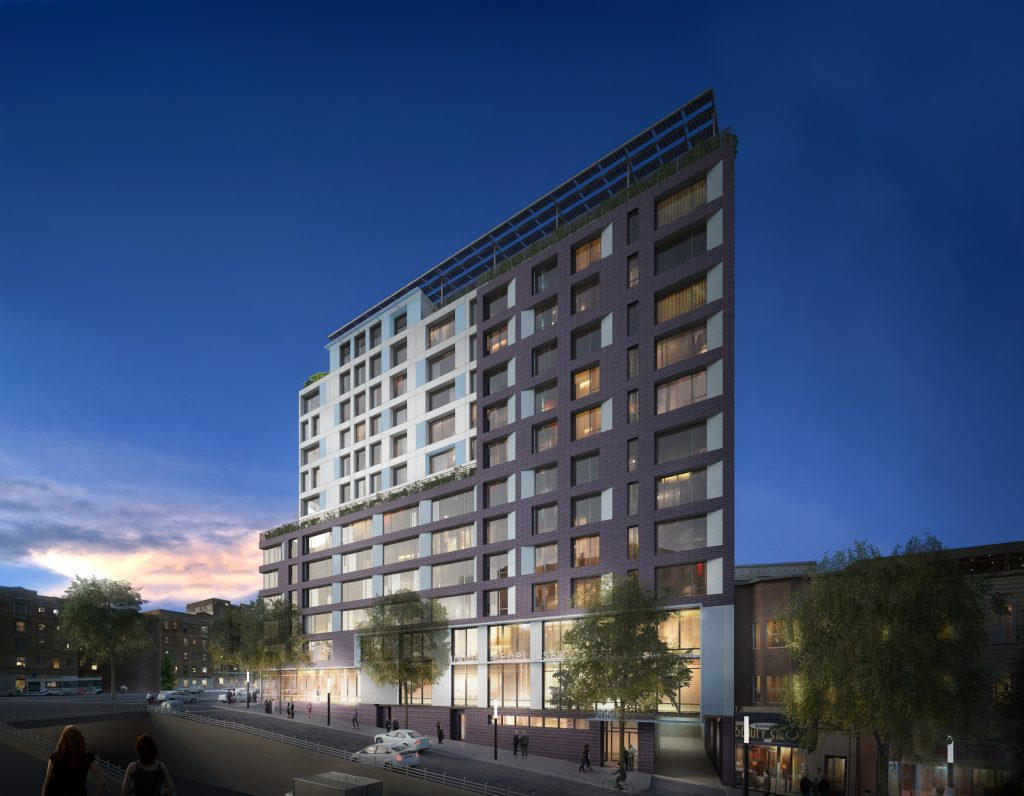 2050 Grand Concourse at night, rendering courtesy Unique People Services