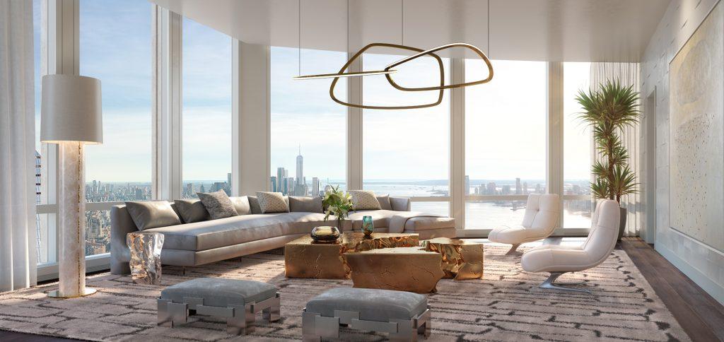 35 Hudson Yards great room, rendering by Binyan Studios