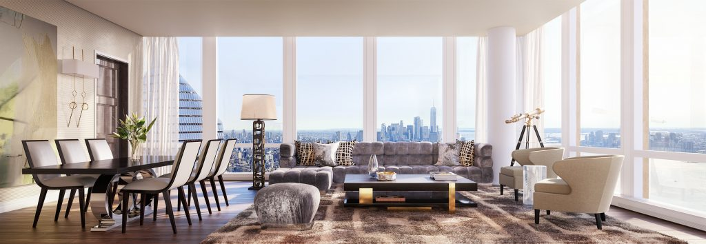 35 Hudson Yards living room, rendering by Binyan Studios