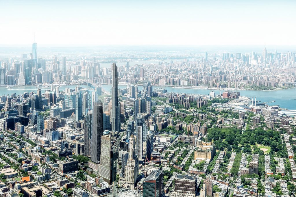 80 Flatbush Aerial View, in which 3WTC has not topped out and only 10HY is complete, rendering courtesy Alloy Development