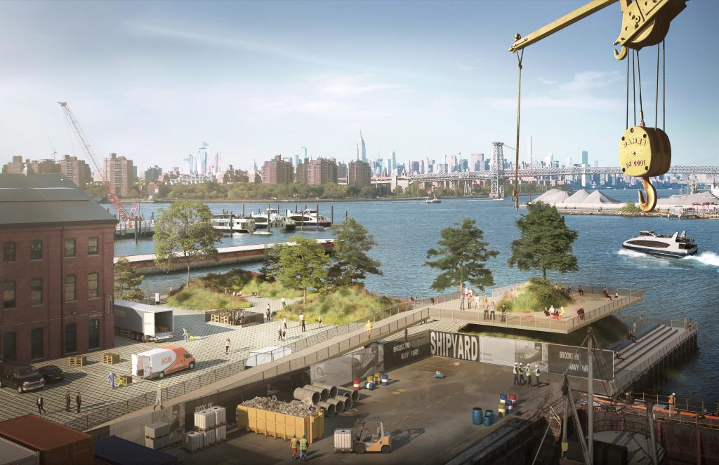 A new waterfront space adjacent to Building 131 functions as both a resiliency measure and a unique opportunity for direct waterfront access to Yard tenants, rendering by WXY and bloomimages