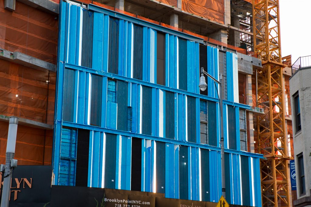 Close-up of the Brooklyn Point facade installed, image by Andrew Campbell Nelson