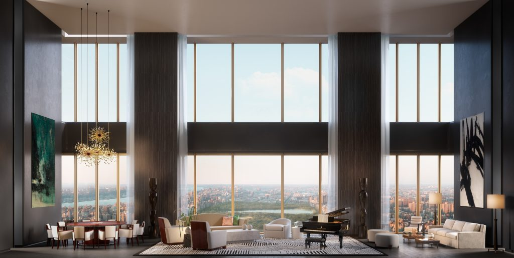Duplex unit inside 111 West 57th Street, rendering by Hayes Davidson