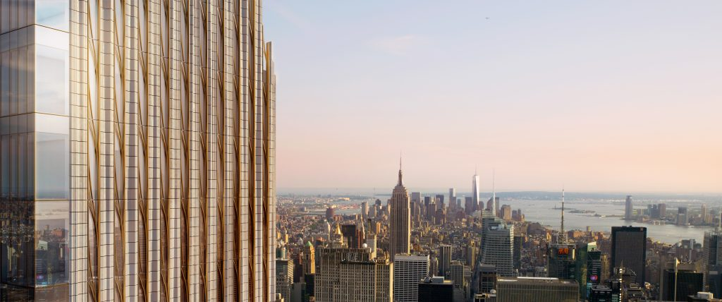 Looking south, 111 West 57th Street, rendering by Hayes Davidson