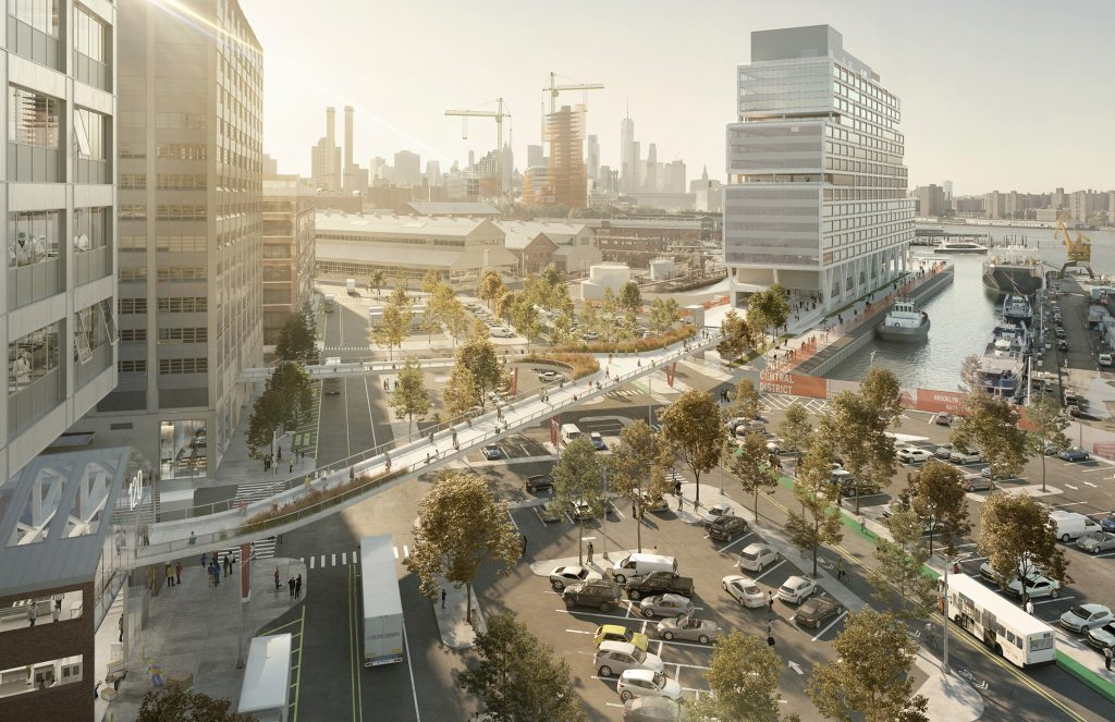 Pedestrian BNY Bridge that overlooks the activity in the Yard and provides walkable public access to the East River Ferry system from Flushing Avenue, rendering by WXY and bloomimages
