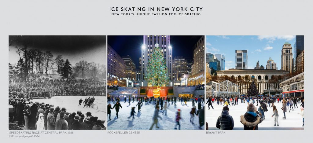 Pier 17 Winter Village ice skating rink inspiration, rendering by Visual House