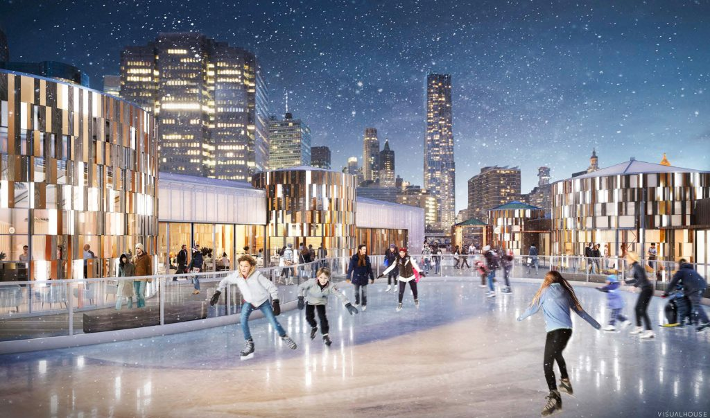 Pier 17 Winter Village ice skating rink, rendering by Visual House