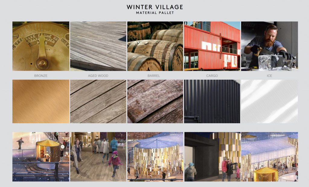 Pier 17 Winter Village material inspiration, images from Rockwell Group