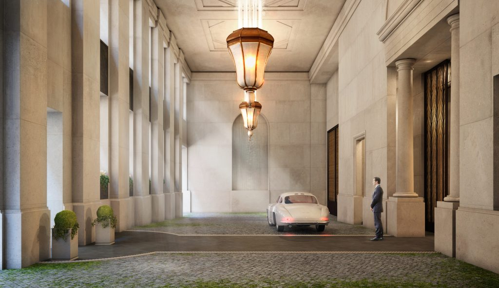 Porte Cochere in 111 West 57th Street, rendering by Hayes Davidson