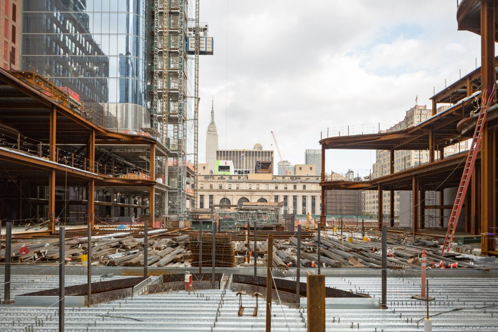 Retail courtyard for Manhattan West taking shape with the old Post Office building across the platform, image by Andrew Campbell Nelson
