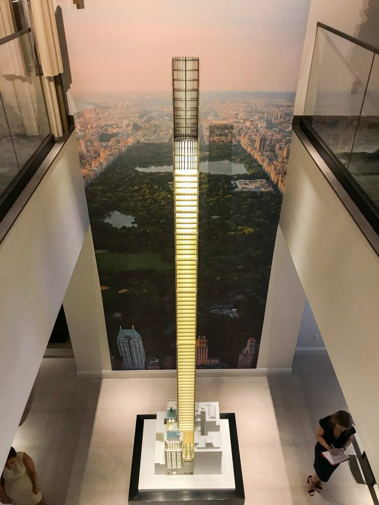 Scale model of 111 West 57th Street, image from the Sales Gallery
