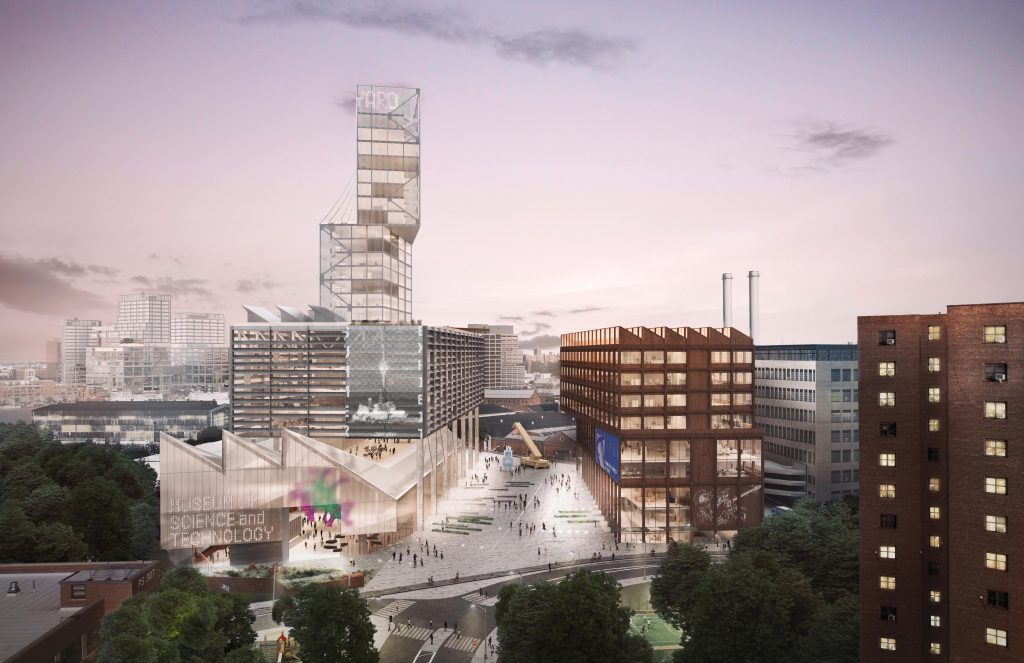 Two vertical manufacturing buildings frame a public square anchored by a potential science museum, rendering by WXY and bloomimages