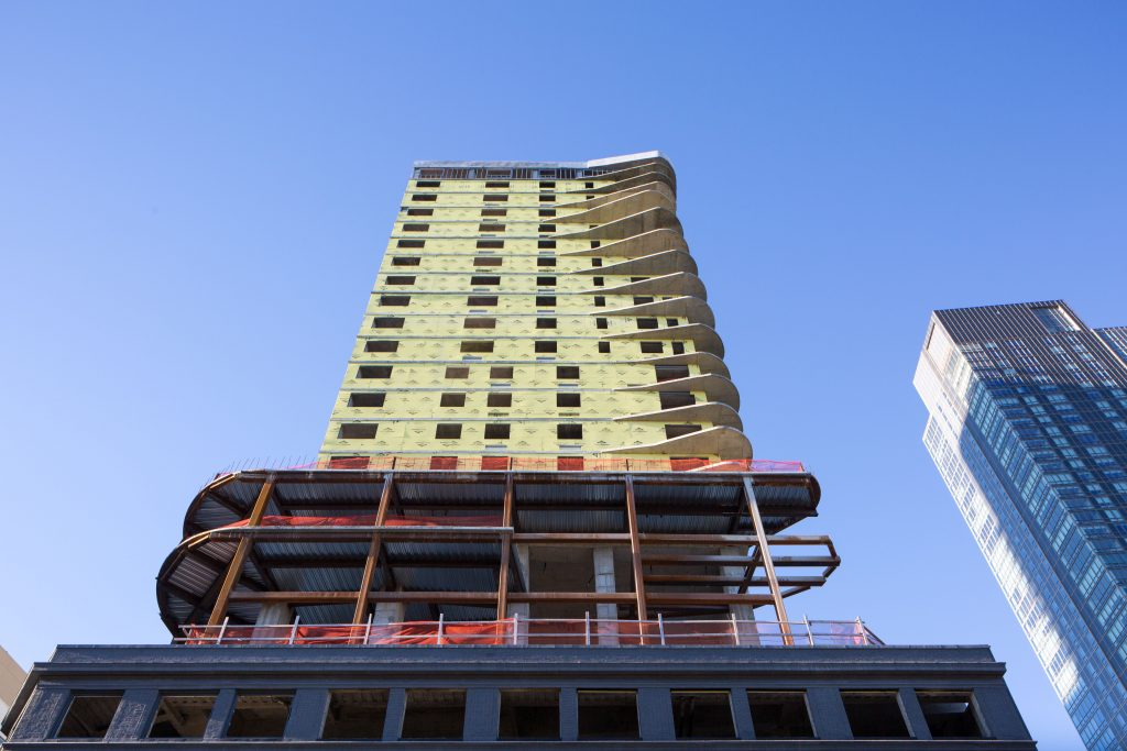 24-16 Queens Plaza South as seen from below, image by Andrew Campbell Nelson