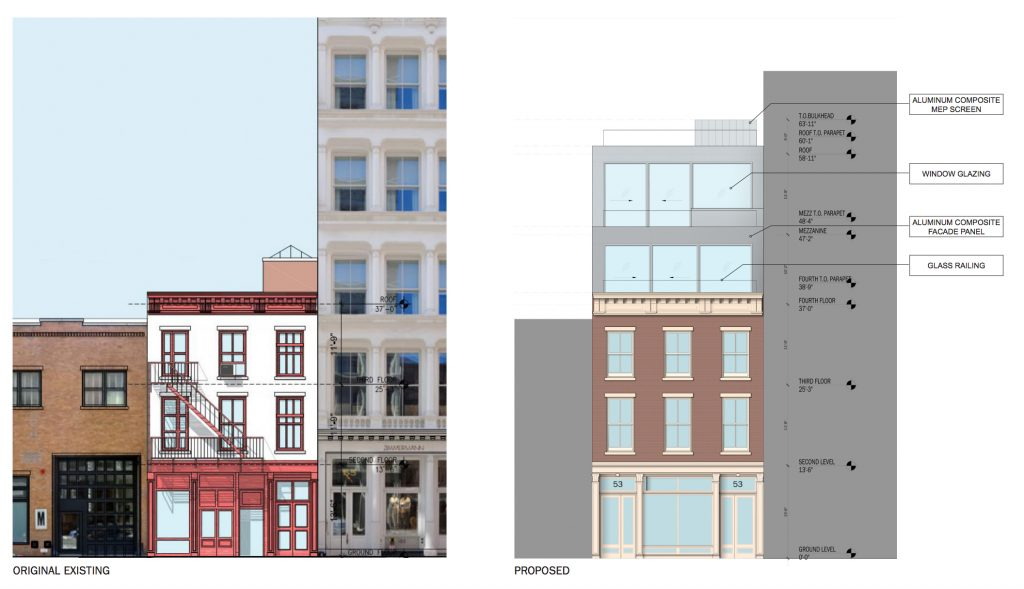 53 Mercer Avenue elevation, before and after, rendering by DXA Studio