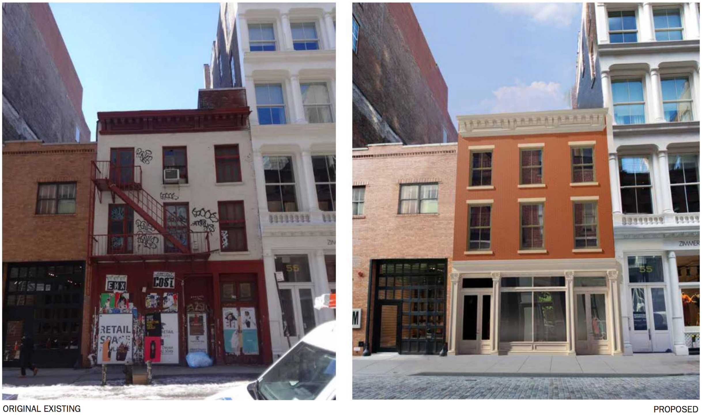 53 Mercer Avenue rendering, before and after, rendering by DXA Studio