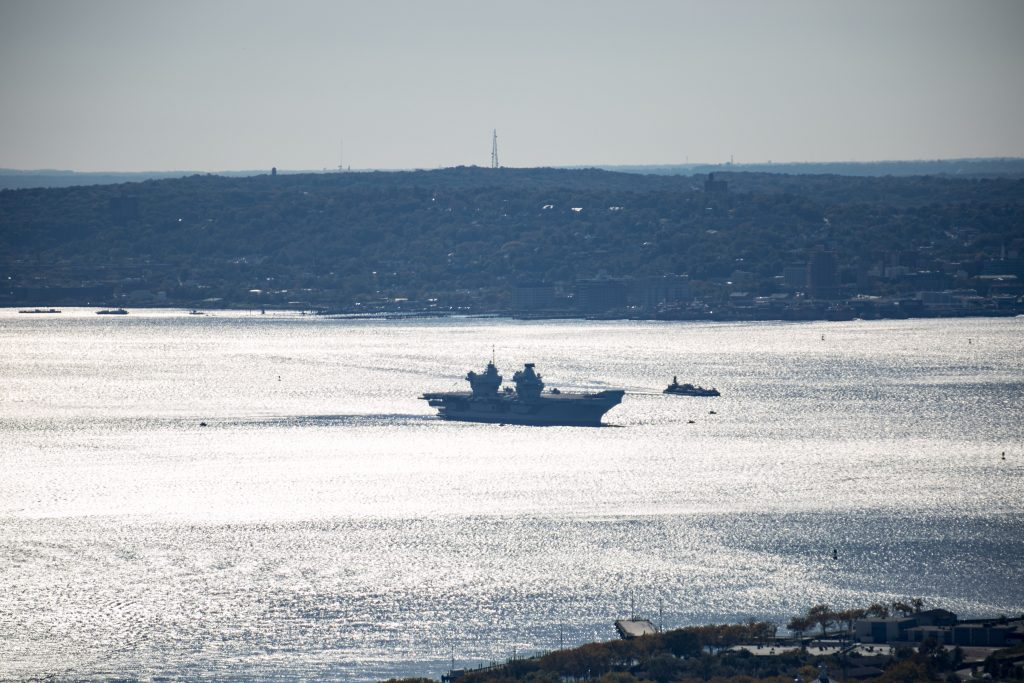 HMS Queen Elisabeth, visiting the NYC Harbor as seen from 1 Manhattan Square, image by Andrew Campbell Nelson