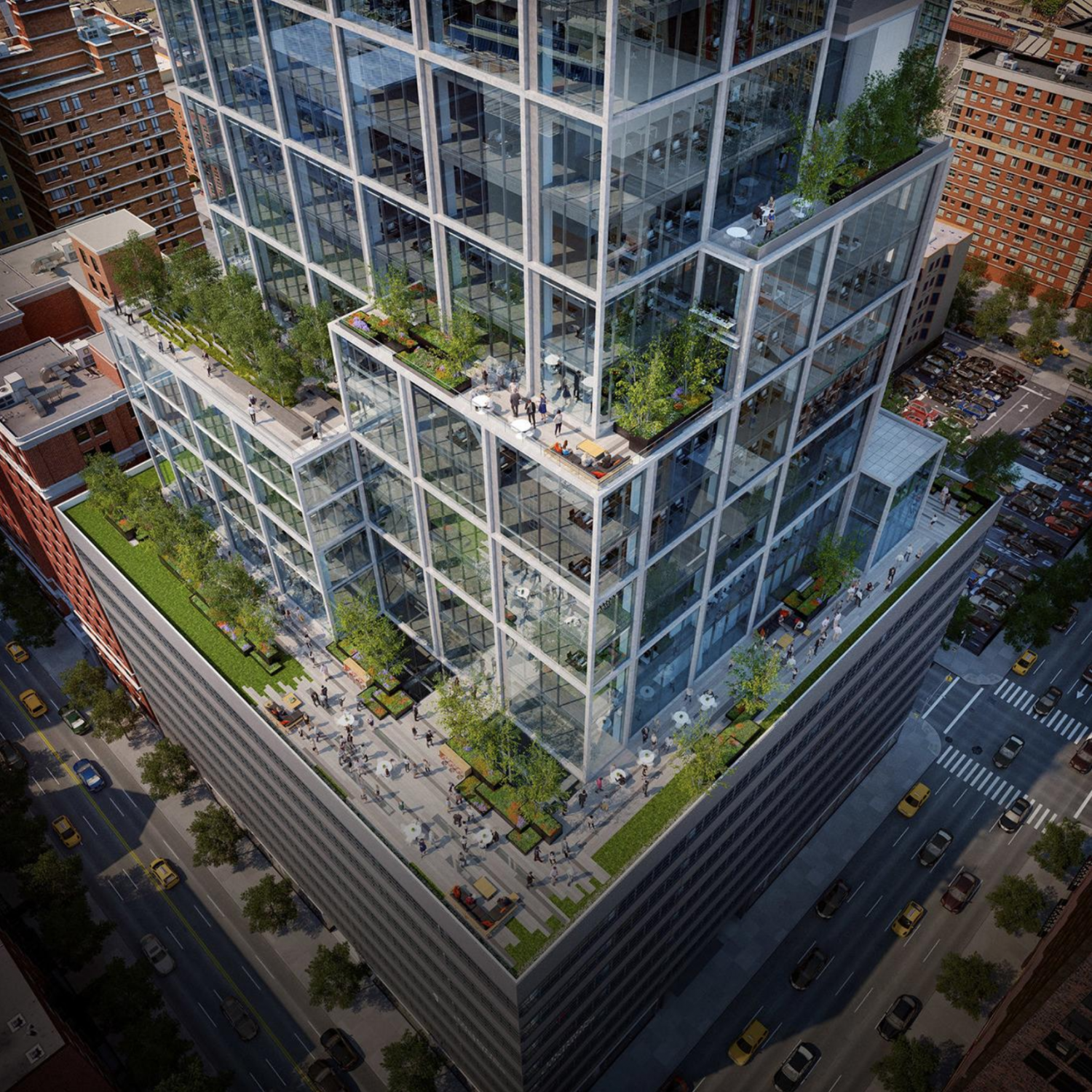 Hudson Commons aerial view, rendering from KPF