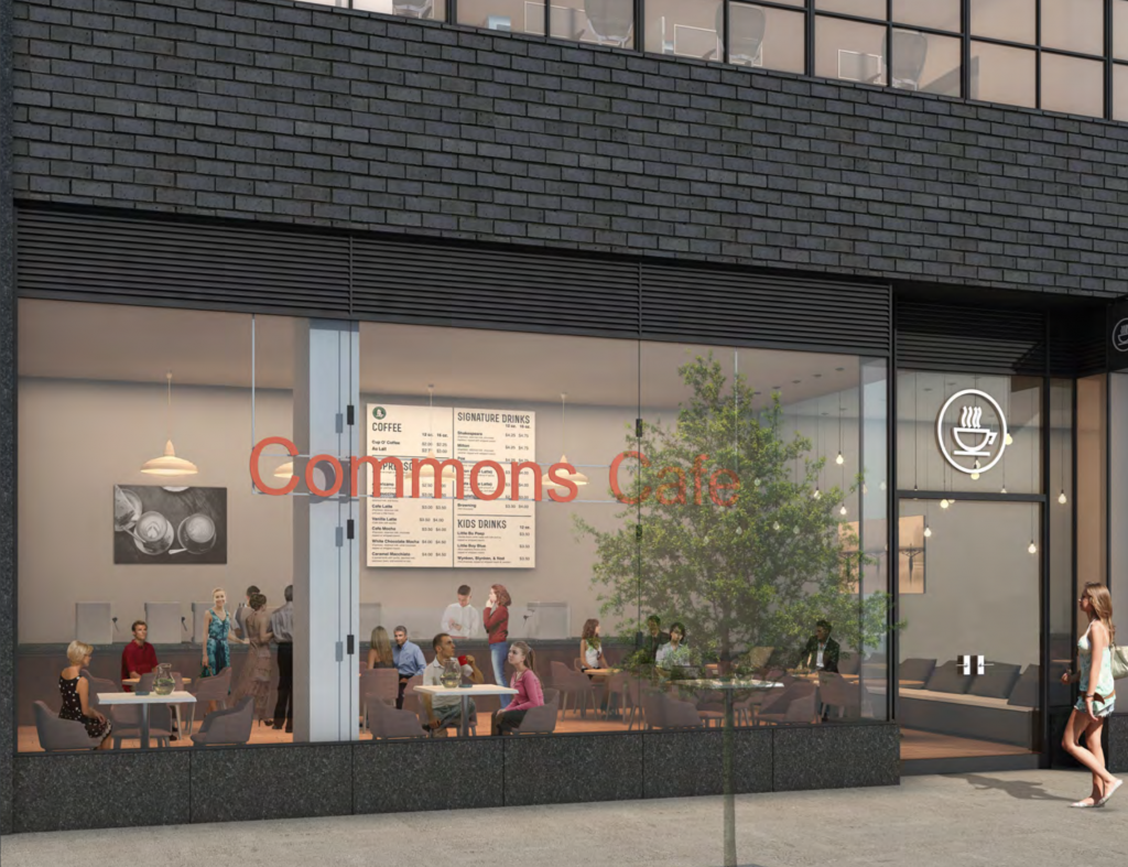 Hudson Commons cafe depiction, rendering from Winick Realty