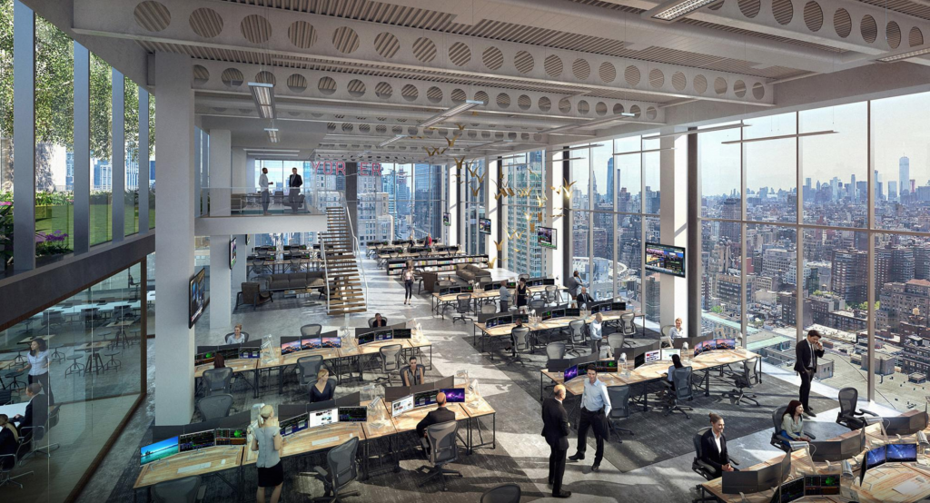 Hudson Commons office space, rendering from KPF