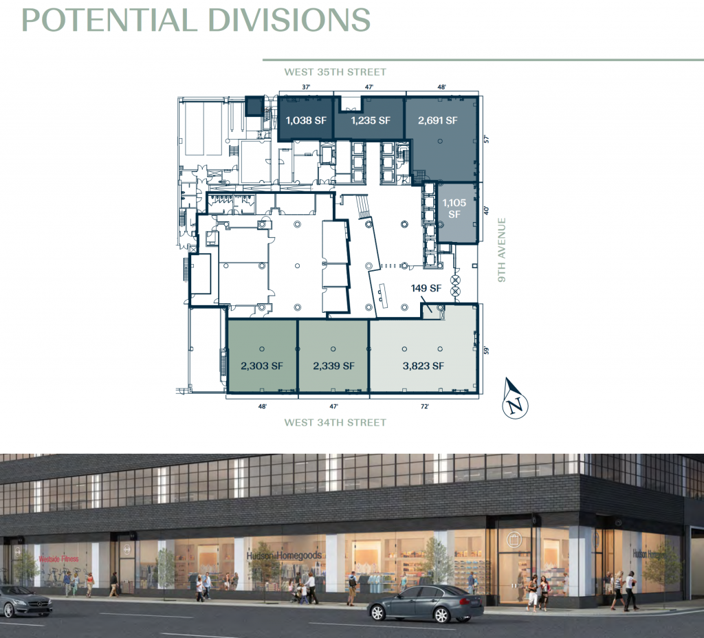 Hudson Commons retail floor space, rendering from Winick Realty