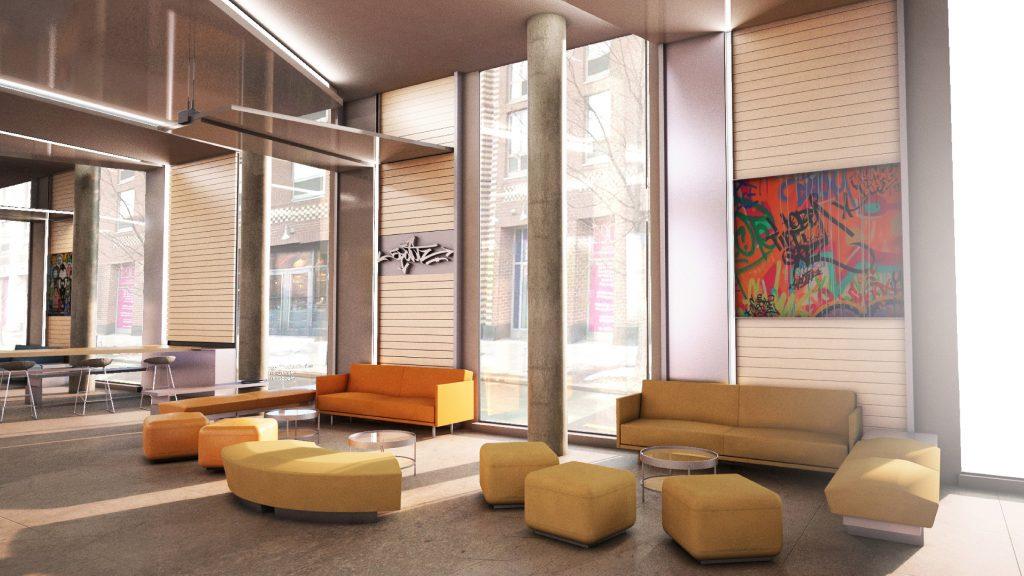 Lounge rendering of 22-44 Jackson Avenue, via Mojo Stumer