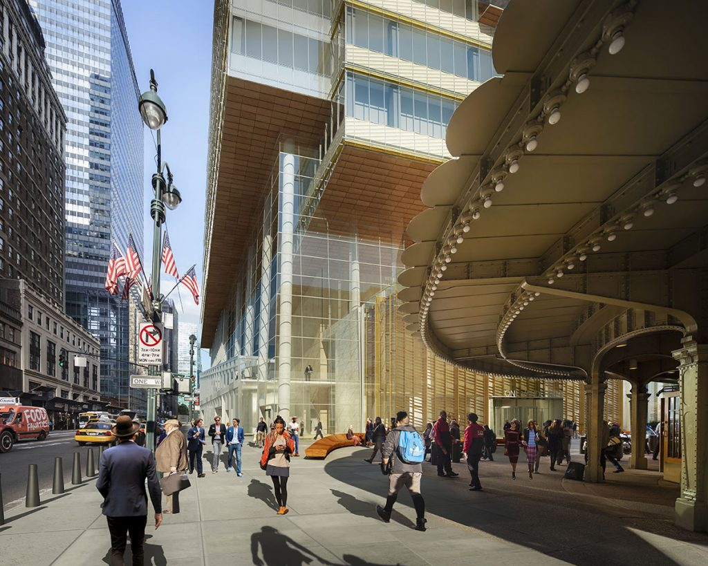 One Vanderbilt podium as seen from Grand Central, rendering courtesy Hines