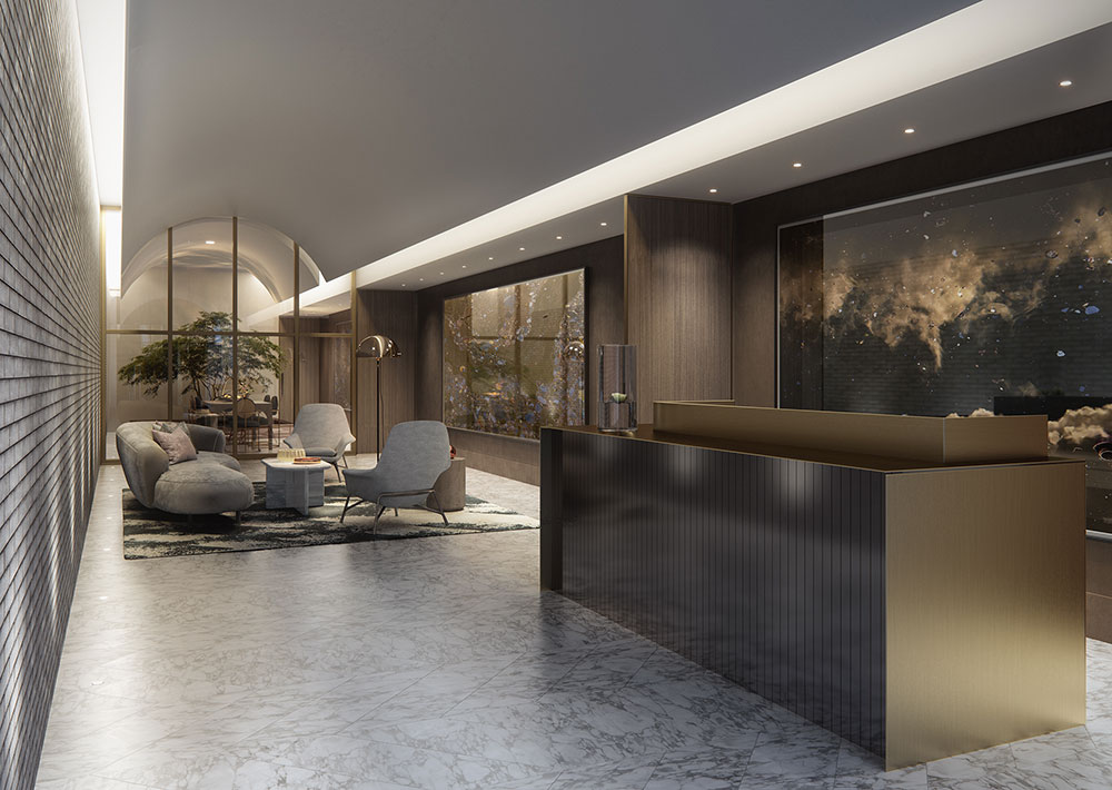 Rendering of lobby entrance at The Parlour (Binyan Studios)
