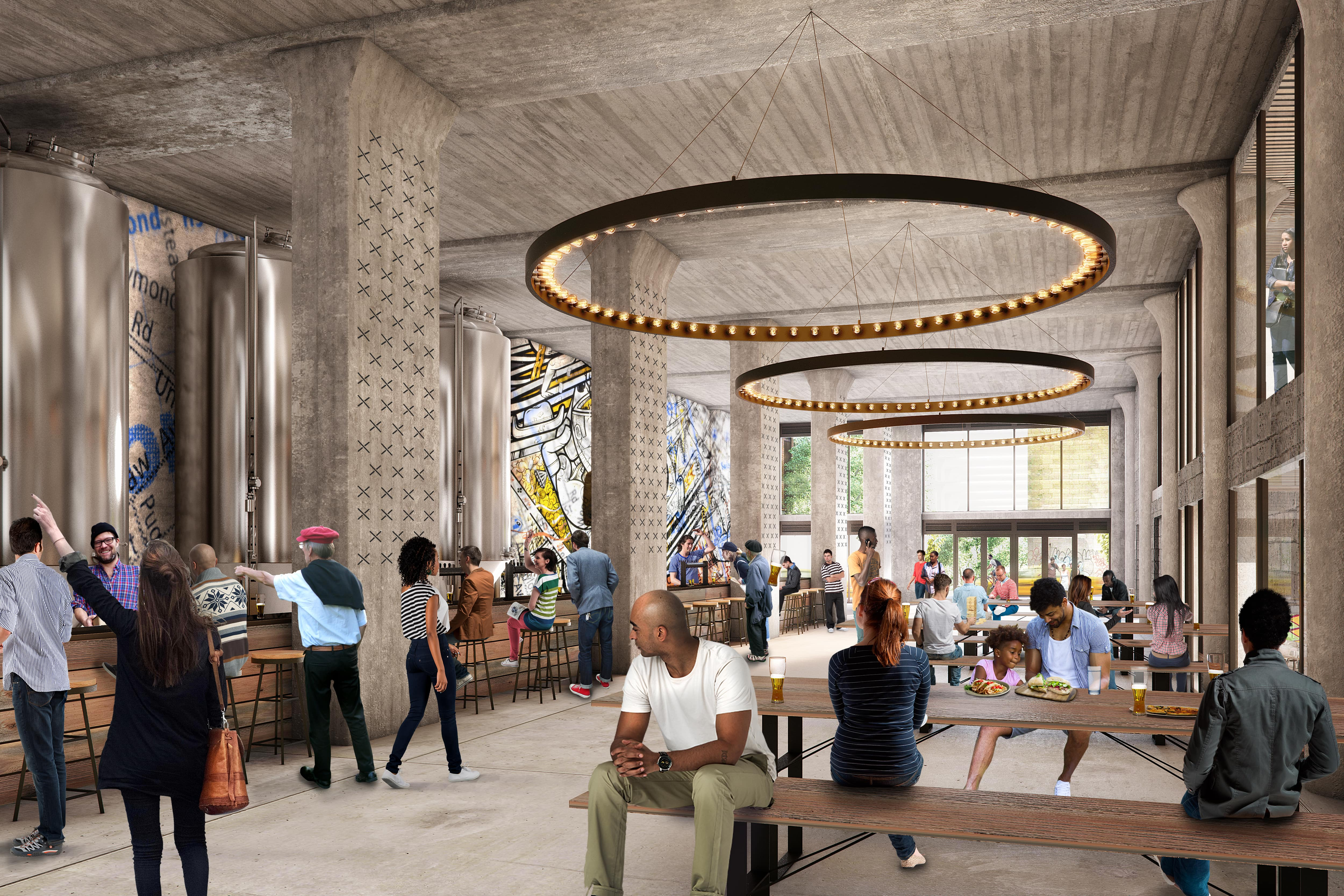 Large spaces on the lower floors will make way for people to eat, socialize and gather. Designed by Woods Bagot