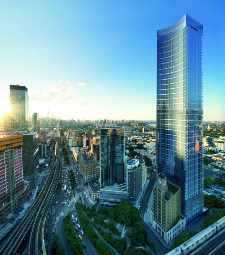 Long Island City Ny: The Durst Organization's Queens Plaza Park Begins Vertical