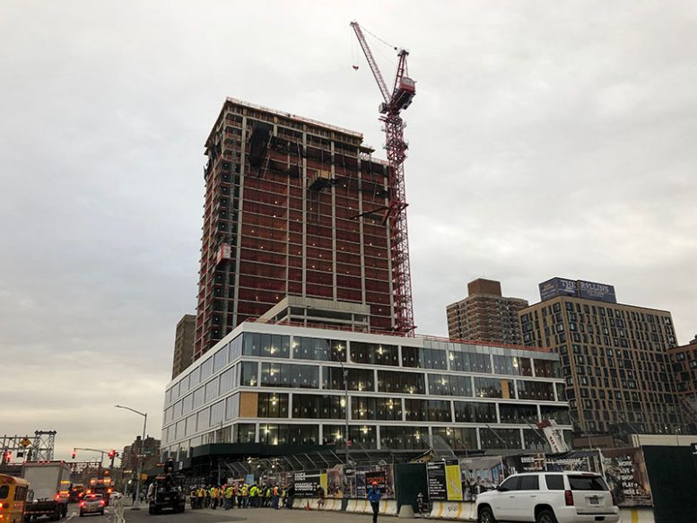 Topped-out construction at 180 Broome Street - Delancey Street Associates