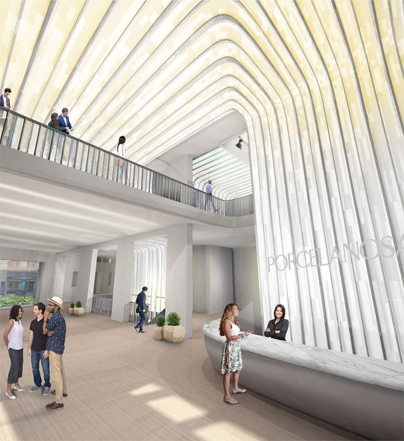 Rendering of atrium at 202-204 Fifth Avenue - CetraRuddy Architecture