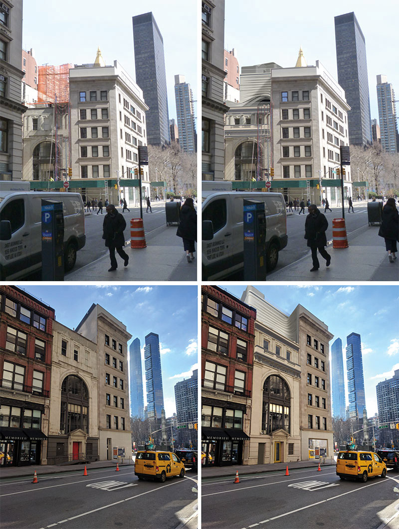 View of the existing structure and proposed changes at 202-204 Fifth Avenue - CetraRuddy Architecture