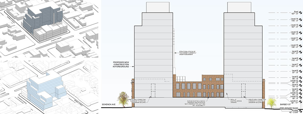Site plan (left) and elevation drawings (right) of 2840 Atlantic Avenue - Dattner Architects