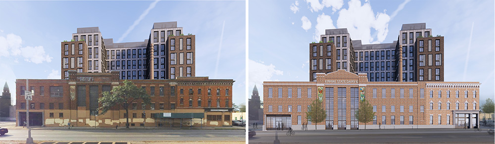 Renderings illustrate the new residential components above the existing Empire State Dairy Building (left) and the renovated building (right)