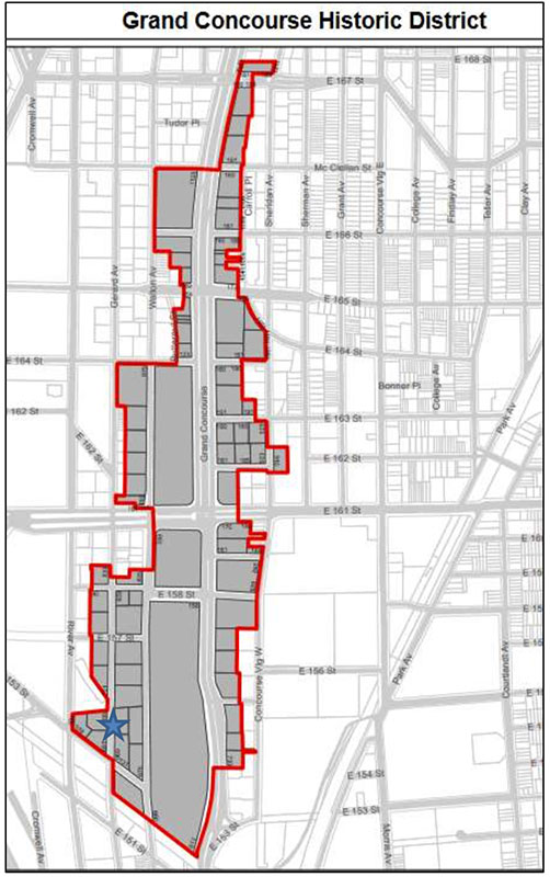 Map of the Grand Concourse Historic District illustrated the location of 700 Gerard Avenue - Partners for Architecture