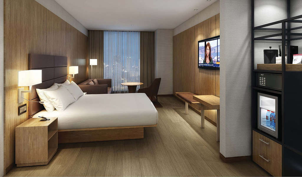 Rendering of a modular guestroom within AC NoMad Hotel at 842 Sixth Avenue - Danny Foster & Architecture