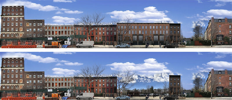 Illustrations depict building elevations along Clermont Avenue with the proposed development (top) and existing conditions (bottom)