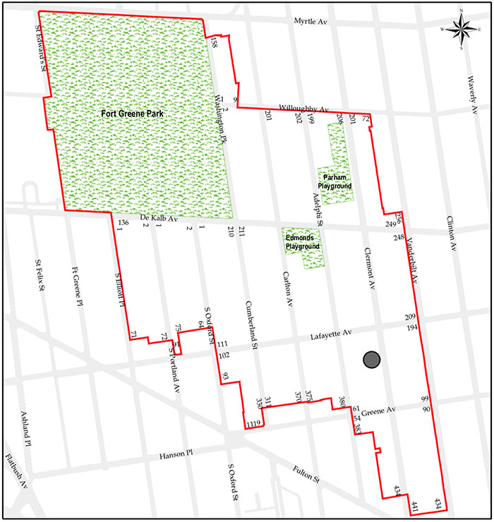 Map of the Fort Greene Historic District illustrates the location of Clermont Rowhouses - CWB Architecture