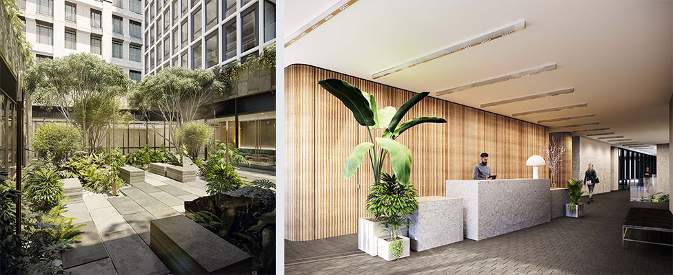 Renderings of the private courtyard (left) and lobby (right) within 77 Charlton - S9 Architecture & Engineering