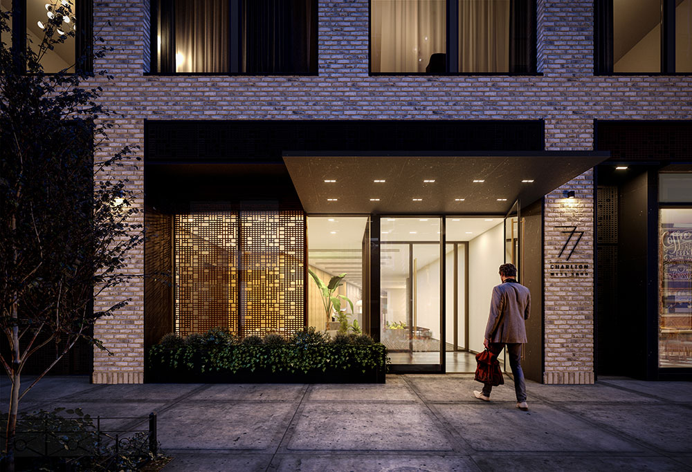 Rendering of entrance at 77 Charlton - S9 Architecture & Engineering