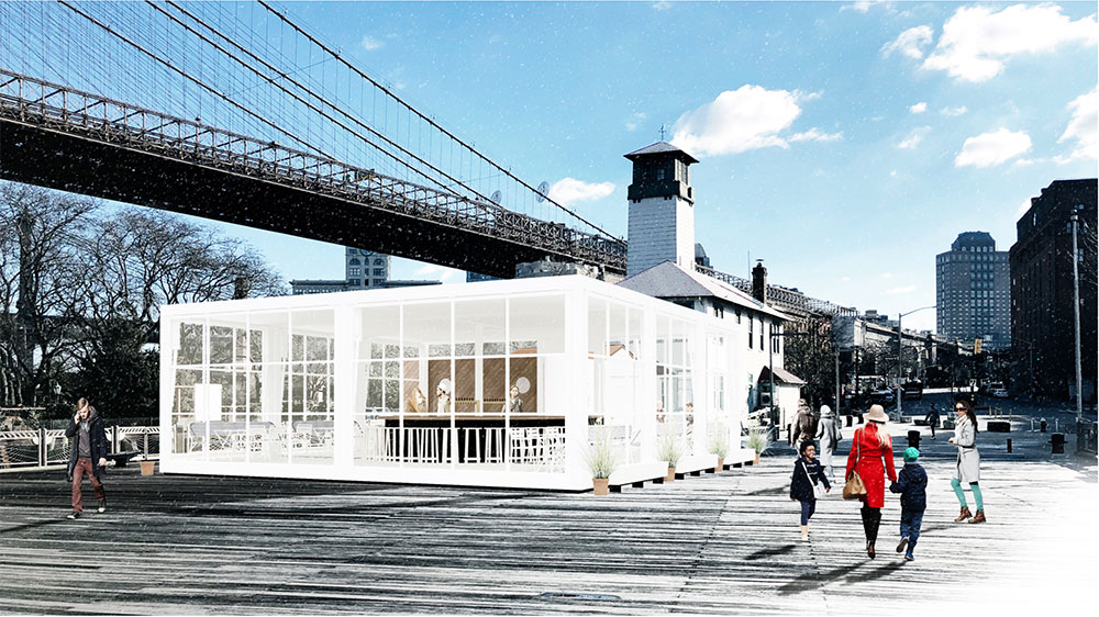 Rendering of the new Fulton Ferry Landing Pier venue - Starling Architecture