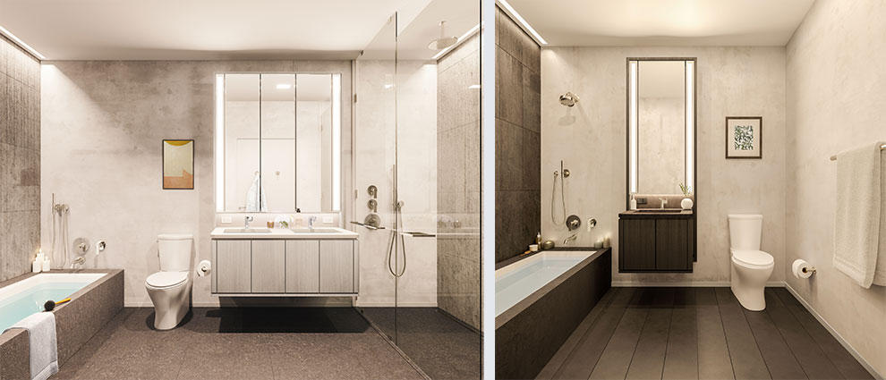 Rendering of a Master and secondary bathroom at 77 Charlton - S9 Architecture & Engineering