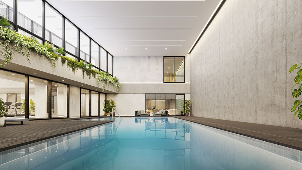Rendering of indoor pool at 77 Charlton - S9 Architecture & Engineering