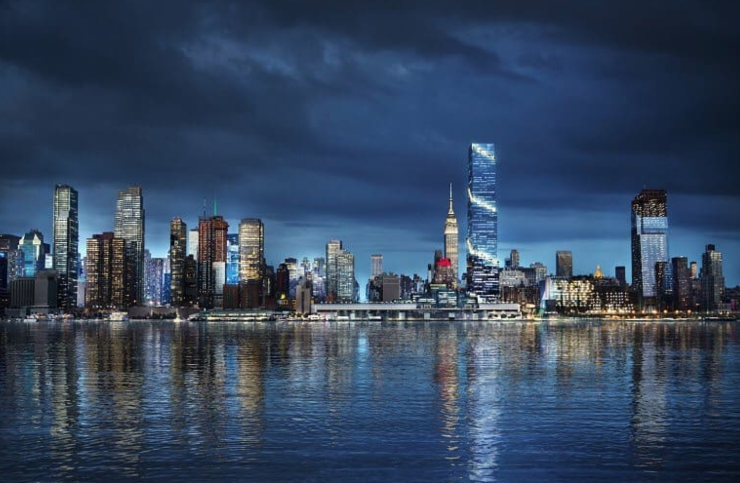 Night rendering of the New York City skyline featuring 66 Hudson Boulevard. Credit: BIG/Tishman Speyer.