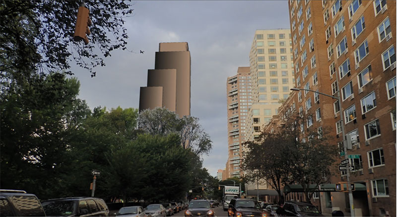 Rendering of 6 West 111th Street - View from Central Park (FX Collaborative)