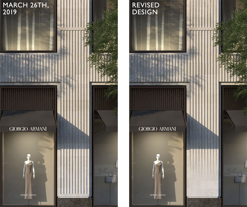 Previously approved rendering (left) and updated rendering (right) of 760 Madison Avenue - COOKFOX Architects