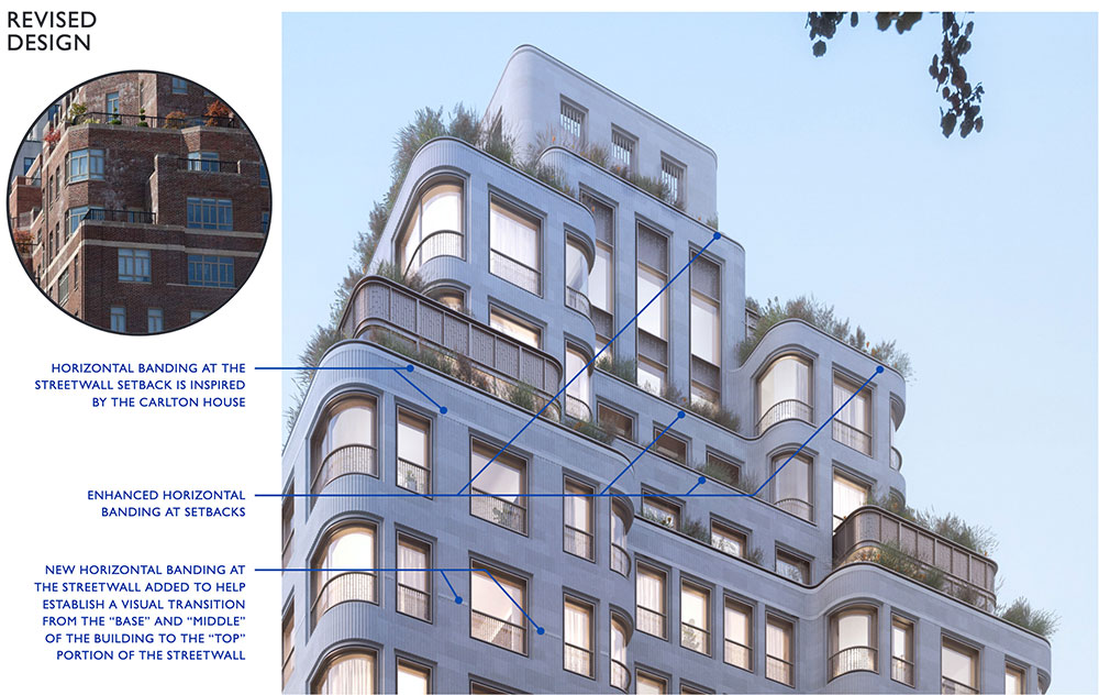 Updated illustration compares upper levels of 760 Madison Avenue to the Carlton House at 21 East 61st Street - COOKFOX Architects