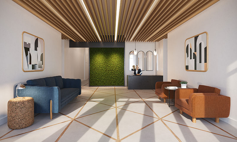 Rendering of 111 Montgomery lobby (Credit: Mesarch Studio)